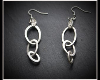Oval Drop Earrings - Silver Precious Metal Clay (PMC), Handmade, Earrings - (Product Code: ACM048-17)
