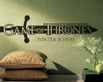 Games of thrones sword design  wall decal, wall sticker  lounge, bedroom decor