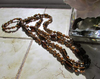 Long Dark Amber Shade Glass Beads -Vintage