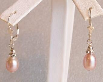 Pink Freshwater Rice Pearl and Crystallized Rondelle Earrings, Handmade Jewelry, Beaded Earrings, Pink Pearl Earrings, Pearl Earrings, Pink