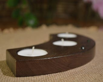 Candle Holder, Wood Tea Light Candle Holder, 3 Tea Light Holder, Home Decor