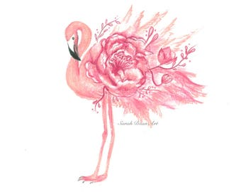 Beautiful Pink Flamingo Print - home decor, baby room, gift and custom available