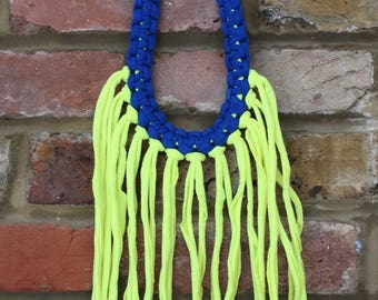 True blue and highlighter yellow tassels necklace