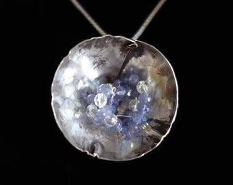 Silver necklace Floral with tanzanite and rock crystal
