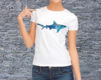 Shark T-shirt - White Tee - Printed T-shirt - Fashion Tee