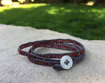 Gray Hemp Bracelet with Red and Purple/Gray Beads and Button Clasp