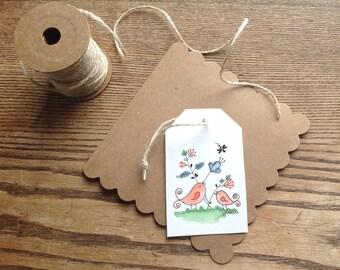 Birds gift etiquette ( solde as a set of 4)/birds gift card/card homemade