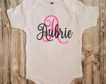 Initial with Name Bodysuit - First Initial Bodysuit - Initial Outfit - Baby Name Bodysuit - First Name Bodysuit - Name Gift - Baby Clothing