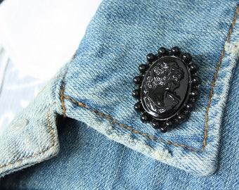 Black Cameo Lapel Pin (large)