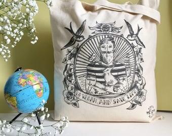 Organic cotton bag Tote / organic cotton bag design / sailor Vegan