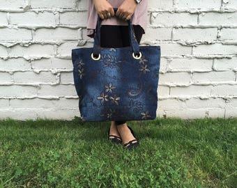 Shoulder Bag, Denim with embroidered floral pattern
