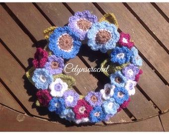 Crocheted floral wreath