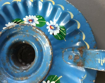 Pretty handpainted metal chamber stick / candle holder- blue