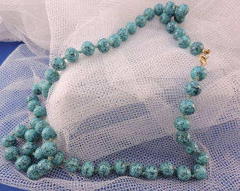 Vintage Knotted on silk Turquoise Turquoise necklace