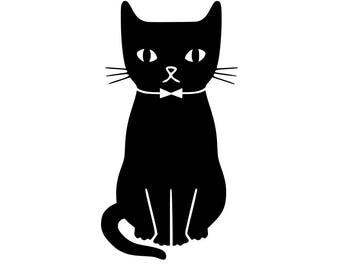 Cat svg, Black cat svg, T-shirt printable, Eps, Dfx, Pdf, Png, Tshirt Tote Silhouette PDF, Dxf- Cat lover- Cat Gift
