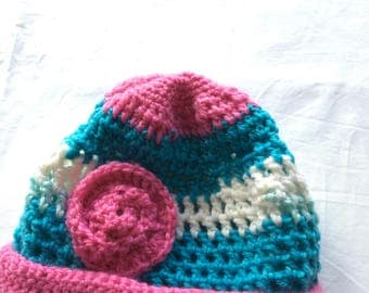 Hand knitted baby beanie 3-6 months