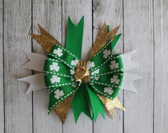 SALE Large Glitter Shamrock Bow