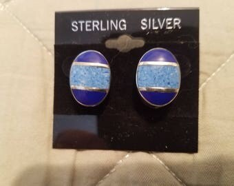 Turquoise and Lapis, Sterling Silver 925 Earrings
