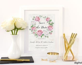 Save the Date Printable Floral Digital Wedding Blush Rose Gold White Watercolor Roses Beige Lace Invitation Wedding Invite WS-010