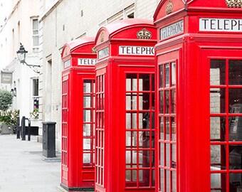 English Red Telephone Box Photos, London Red Phone Box Wall Art, London Street Photography, Romantic London Photography, London Photo Prints