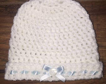 Handmade Crochet Baby Hat with Ribbon