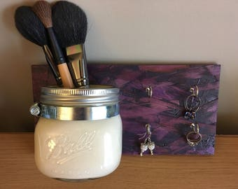 Antique White Mason Jar with Purple Stained Wood