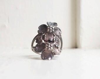 Vintage Dogwood Flower Ring - Vintage Flower Ring - Antique Dogwood Ring - Antique Sterling Silver Ring - Dogwood Jewelry - Dogwood Flowers