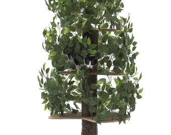 On 2 Tree Cat Condo Large Round, Tree House Tower for Climbing, Playing, Scratching, and Relaxing - 60 in. high