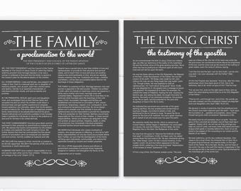 Set of 2 | LDS Family Proclamation | The Living Christ | 8x10"