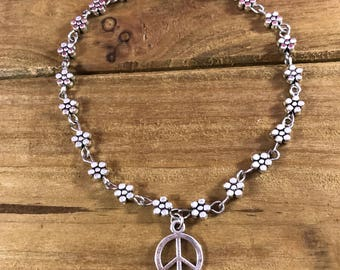 Daisy  chain bracelet with Peace Sign