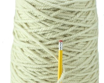 White 3/8  3 ply 100% Wool from New Zealand  (10 pounds)