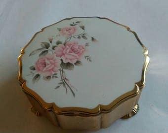 Lovely Vintage Pink Roses and White Enamel Stratton Trinket Box