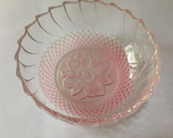 Pretty, Vintage, Pink Cut Glass Candy Dish