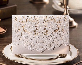 Elegant Laser Cut Wedding Invitation Card w/Envelop - Beige & White, Personalised Printing Available, Free Shipping, bulk buy discount apply