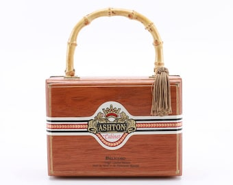 Ashton Wooden Cigar Box Purse with Bamboo Handle and Tassel