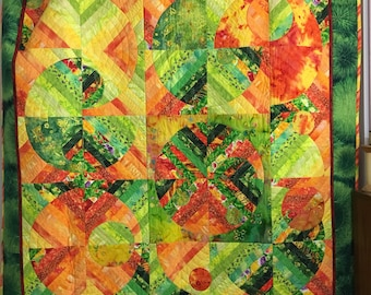 Citrus Twist Quilted Wallhanging or Lap Quilt