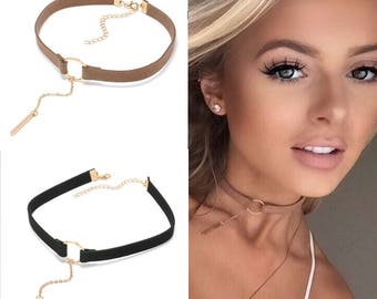 Leather Choker Necklace With Round Pendant Necklace For Women/Girls