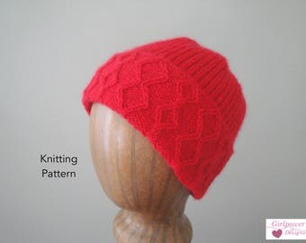 Cable Brim Hat Knitting Pattern, Watch Cap, Rib Knit, Beanie Hat, Men Women, Sport Weight Yarn, Helix Hat