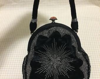 Beautiful Black Velvet & Silver Beaded Flapper styled handbag.