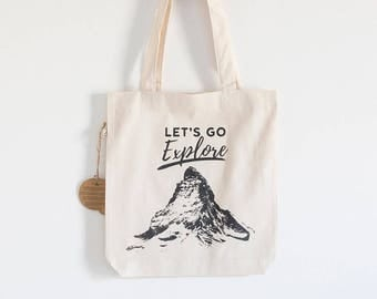 "Fabric bag Model ""Let's Go Explore"""