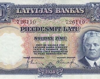 Latvia - 50 Latu - 1934