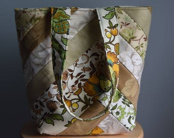 Homemade Quilted Tote. Quilted purse. Quilted bag. Brown and Green.