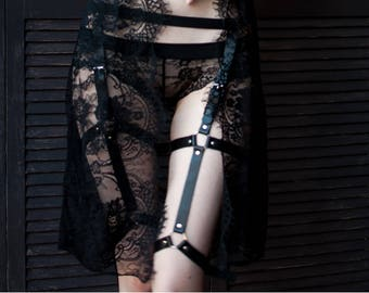 Waist to thigh harness,  Lingerie, Fetish harness, leather leg garter,  garter belt, leg garter, leather leg harness, garter harness