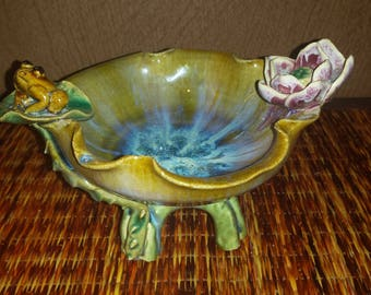 """Vintage Frog, and Lilly pad """"Knick Knack"""" bowl"""