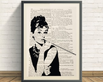 Audrey Hepburn - A4 Art Print On Old Book Page, Breakfast at Tiffany's, Designer