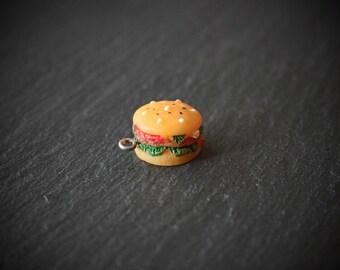 Hamburger Charm, Hamburger Pendant, Food Charm