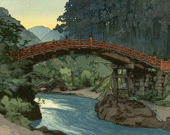 "Japanese Art Print ""Sacred Bridge"" by Yoshida Hiroshi, woodblock print reproduction, asian art, cultural art, landscape, countryside, Nikko"