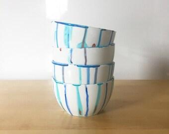 Watercolor Porcelain Bowl or Latte Hand Mug