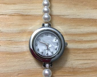 Silver Wrist Watch with Pearl Band