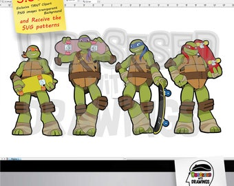 teenage mutant ninja turtles clipart and SVG patterns, PNG images with excellent resolution, SVG layered, papercraft applications and more